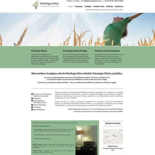 Diseño de página web para centros de psicología, psicólogos en Madrid