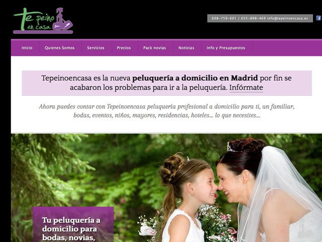 Diseño web para peluqueria a domicilio tepeinoencasa
