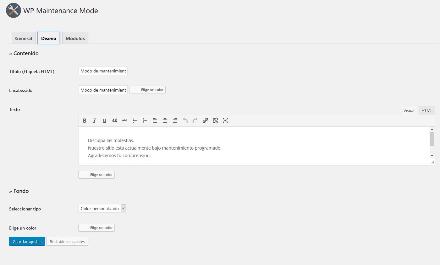 wp maintenance mode configuracion diseno Diseño paginas web