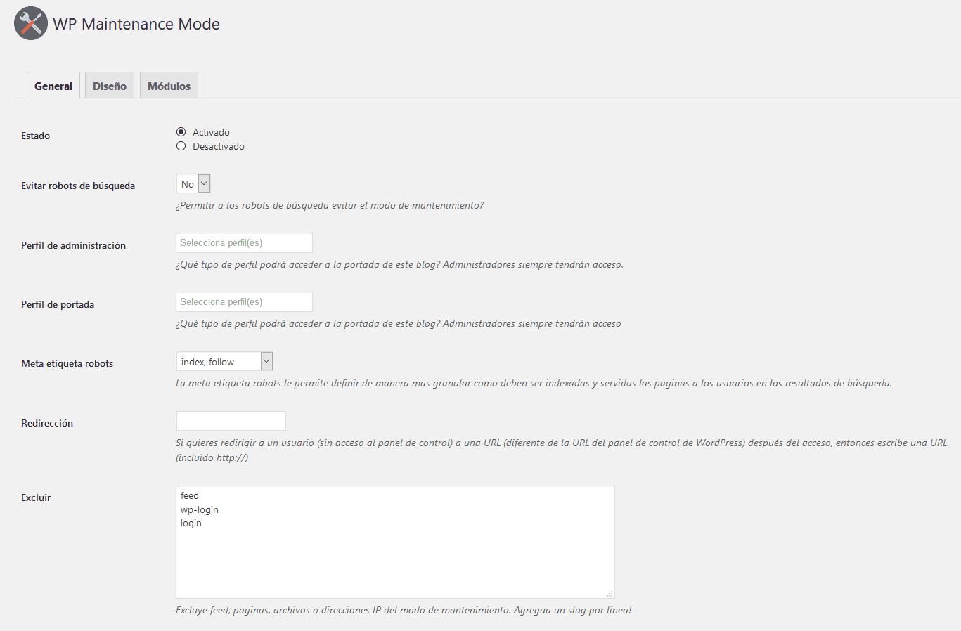 wp maintenance mode configuracion general Diseño paginas web